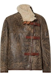 Isabel Marant Abelina Leather Trimmed Painted Shearling Jacket Brown