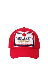 Dsquared Superior Patch Cotton Canvas Baseball Red