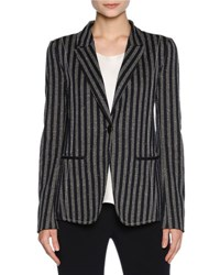 Giorgio Armani Striped Cotton Jersey Blazer Blue