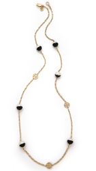 Tory Burch Dipped Evie Chain Rosary Necklace Black Ivory Shiny Gold