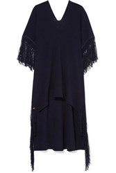 Caravana Butub Asymmetric Fringed Cotton Gauze Dress Navy
