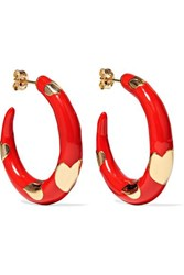 Alison Lou Amour 14 Karat Gold And Enamel Hoop Earrings One Size
