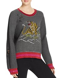 Pam And Gela Embroidered Tiger Sweatshirt Oil Grey