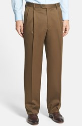 Men's Big And Tall Berle Pleated Wool Gabardine Trousers Tobacco