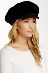 Surell Faux Fur Newsboy Hat Black