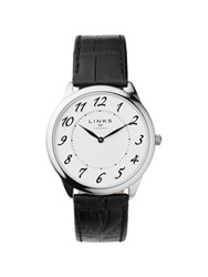 Links Of London Narrative Mens Black Leather Watch Black