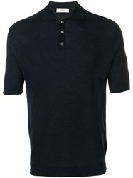 Pringle Of Scotland Plain Knitted Polo Shirt Blue