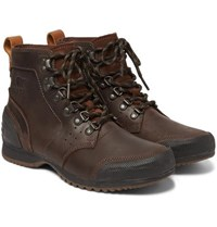 Sorel Ankeny Waterproof Leather And Rubber Boots Brown