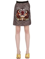 Gucci Tiger Embellished Viscose And Lace Skirt