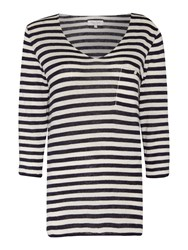 Part Two V Neck Stripe Top With Pocket Navy
