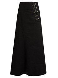 Ellery Rubinstein Eyelet Embellished Denim Skirt Black