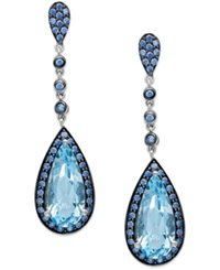 Macy's Sterling Silver Blue Topaz 5 Ct. T.W. And Blue Swarovski Zirconia 1 1 5 Ct. T.W. Drop Earrings