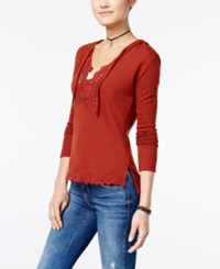 American Rag Crochet Trim Hooded Sweater Only At Macy's Burnt Henna