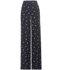 Dorothee Schumacher Cosmic Fantasy Printed Silk Trousers Blue