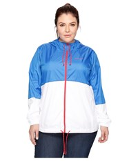 Columbia Plus Size Flash Forward Windbreaker Stormy Blue White Red Camellia Women's Coat