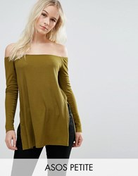 Asos Petite Off Shoulder Slouchy Top With Side Split Green