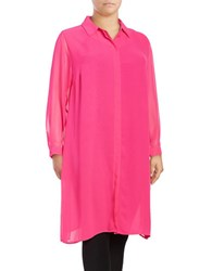 Vince Camuto Plus Long Sleeved Button Front Tunic Top Pink