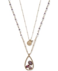 Lonna And Lilly Gold Tone Multi Stone 2 In 1 28 Pendant Necklace Pink