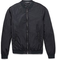 Dolce And Gabbana Leather Trimmed Shell Bomber Jacket Blue