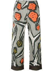 Issey Miyake Pleats Please By Floral Print Pleated Trousers Women Polyester 3 Grey