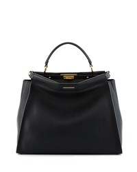 Fendi Peekaboo Large Leather Satchel Bag Black