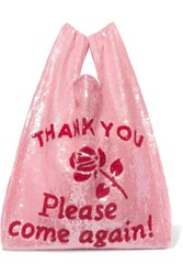 Ashish Sequined Cotton Tote Baby Pink