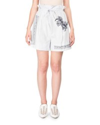 Acne Studios Maurice High Waist Cotton Shorts W Floral Embroidery Light Blue