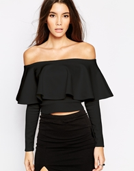 Oh My Love Crop Top With Frill Sleeve Black