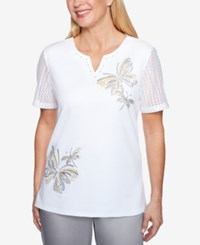 Alfred Dunner Charleston Embroidered Butterfly Top White