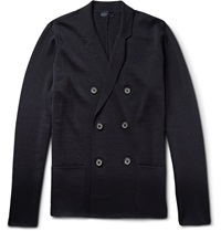 Lanvin Double Breasted Wool Cardigan Blue