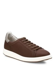 Brunello Cucinelli Low Top Leather Sneakers Brown