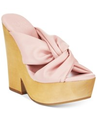 Mojo Moxy Mally Wooden Platform Sandals Women's Shoes Pink