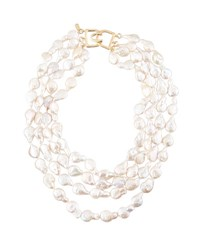 Kenneth Jay Lane Four Strand Baroque Freshwater Pearl Necklace White