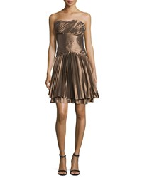 Halston Strapless Plisse Cocktail Dress Bronze