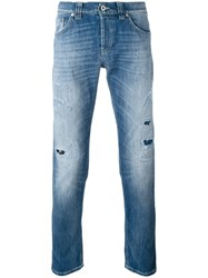 Dondup Distressed Jeans Men Cotton Polyester 32 Blue