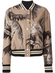 Off White Palm Print Bomber Jacket Nude And Neutrals