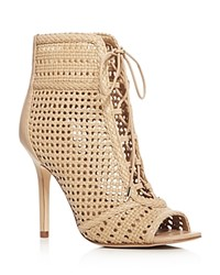 Sam Edelman Abbie Woven Open Toe High Heel Booties Dark Beige