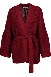 Etoile Isabel Marant Floyd Cable Knit Cotton Blend Cardigan Claret