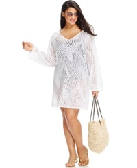 Dotti Plus Size Lace Cover Up Hoodie Women's Swimsuit White