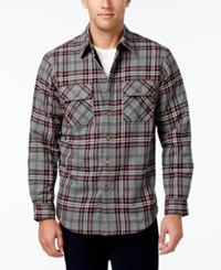 Club Room Men's Big And Tall Troy Plaid Shirt Jacket With Faux Fur Lining Only At Macy's Dark Grey