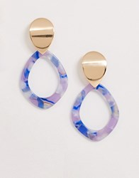 Ny Lon Nylon Resing And Gold Circle Drop Down Earrings Multi