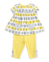 Offspring Cotton Butterfly Tunic W Leggings Yellow Gray