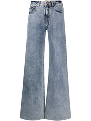 Filles A Papa Romeo Heat Patch Flared Jeans Blue