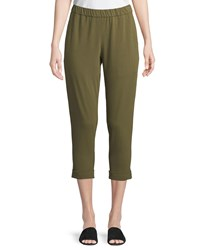 Eileen Fisher Slim Organic Cotton Jersey Cropped Pants Olive