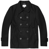 Nanamica Windstopper Pea Coat Black Melton Wool