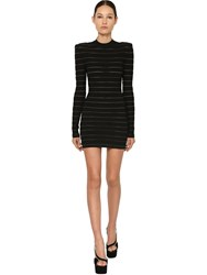 Balmain Stripe Knit Stretch Mini Dress Black