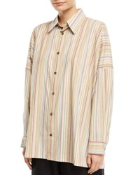 Eskandar Wide Striped Cotton Shirt Multi