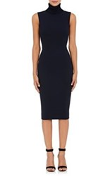 Victoria Beckham Women's Rib Knit Mock Turtleneck Fitted Dress Navy