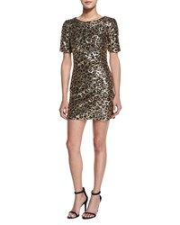 French Connection Leo Lux Embellished Mini Dress Gold