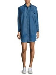 Kendall Kylie Frayed Chambray Denim Shirt Dress Medium Wash